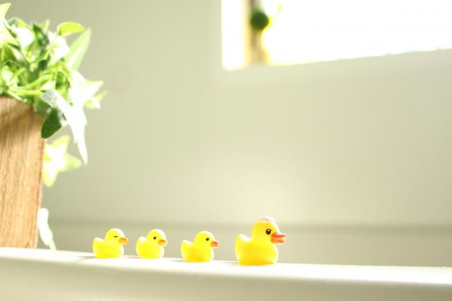 湯船にアヒルのおもちゃ