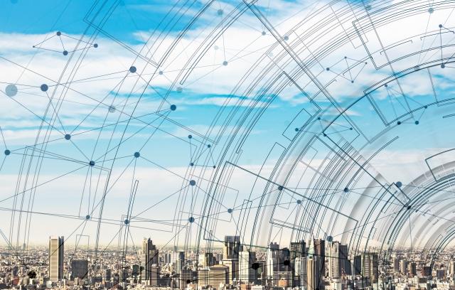 都市とネットワークのイメージの画像