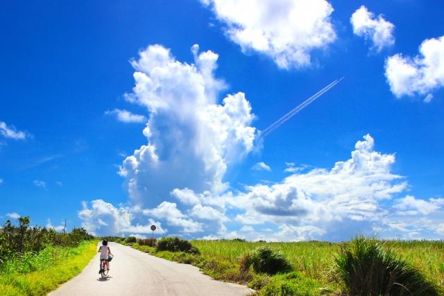 田舎の天気が良い道を自転車に乗っている人の画像