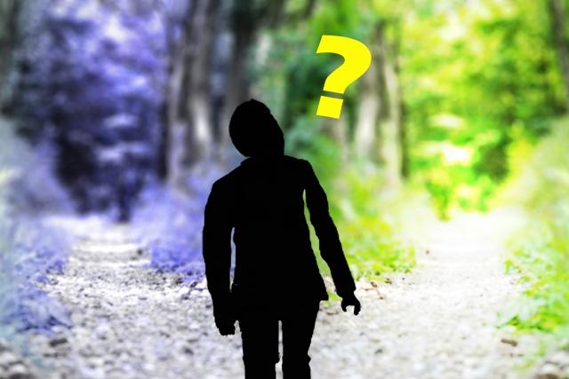2つの分かれ道どっちに行くか迷っている男性のシルエットの画像