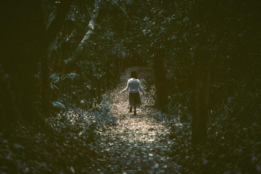 自分軸で生きていたら世間の批判を浴びて落ち込んで一人で暗い森を散歩しているイメージ画像