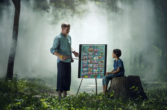 森の中でブラックボードで授業をしている先生と子供の画像