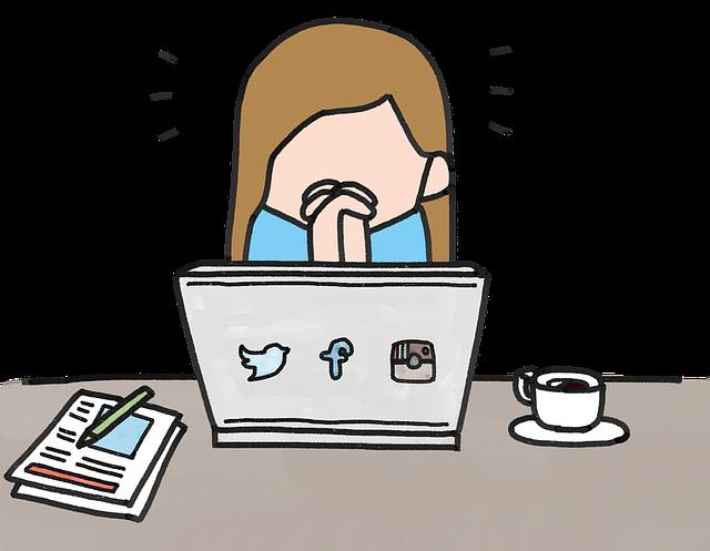 パソコンでブログしている女性の絵のタッチの画像