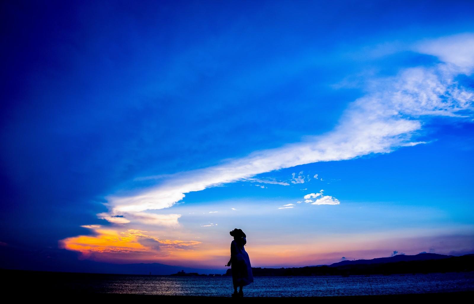夜空の下で、占いをしてもらって何かを決断した女性のシルエットの画像