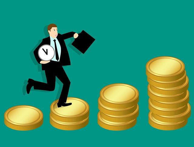 お金の階段を登っているスーツ姿の男性のイラスト画像