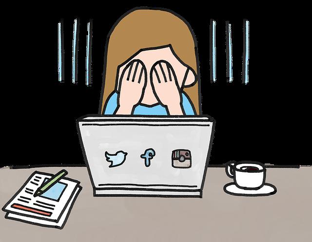 アフィリエイトに失敗してパソコンの前で落ち込んでいる女性のイラスト画像