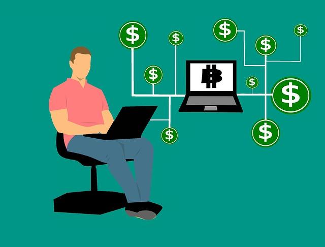 パソコンでお金を生み出そうとしている男性のイラスト画像