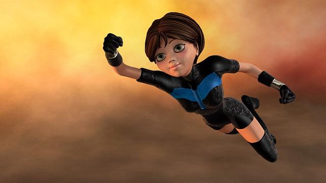 女性のヒーローが飛んでいるイラスト画像