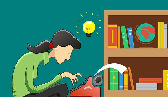 タイプライターで記事を作っている女性のイラスト画像