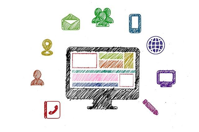 パソコンと9個のアイコンのイラスト画像