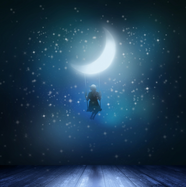 星空と三日月に照らされる女性のイラスト画像