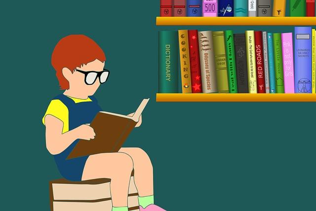 子供が本を読んでいるイラスト画像