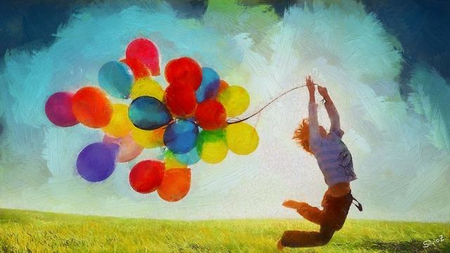 たくさんの風船を抱えてジャンプしている人のイラスト画像