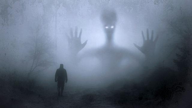 森の中で大きな宇宙人の影をみている男性の画像