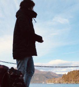 箱根で撮った自撮りの写真