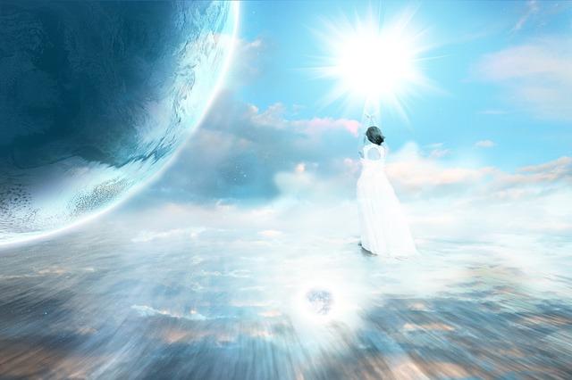 地球を見ている女性の神秘的な画像