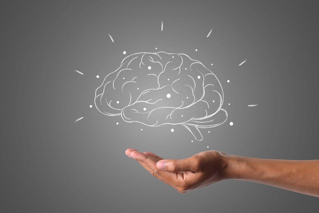 脳のイラストを掌に乗せているイメージ画像