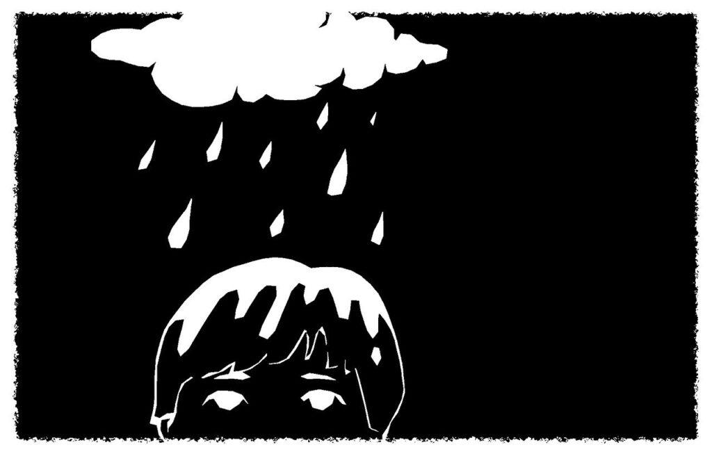 雨に打たれている男の子のイラスト画像