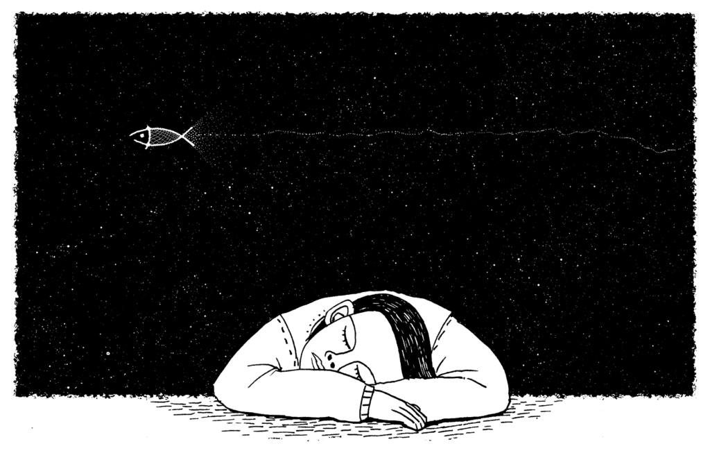 ニートで寝ている男性のイラスト画像