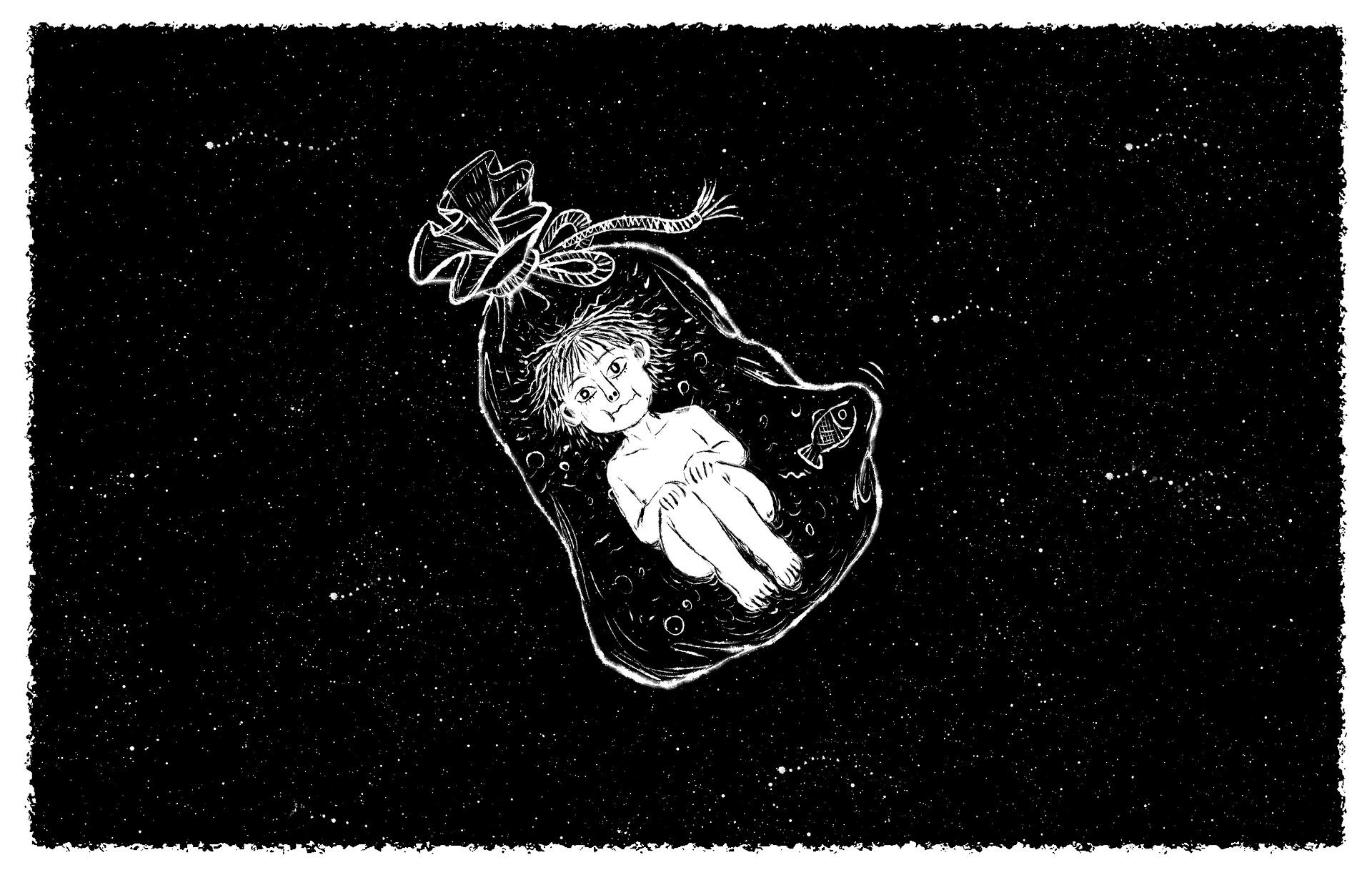 ニートの男の子が空中に浮いている画像