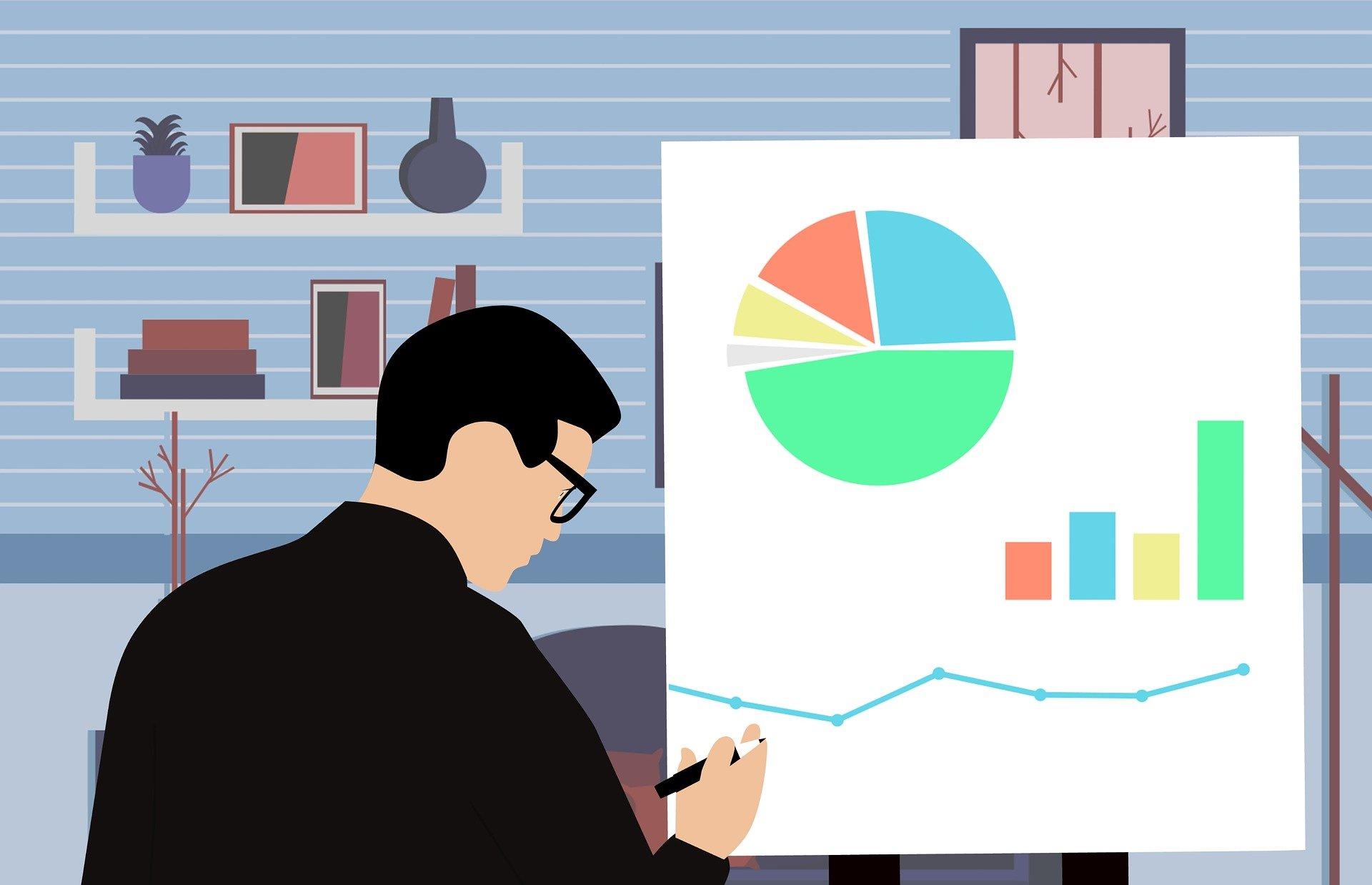アメブロのアクセス数を研究している男性のイラスト画像
