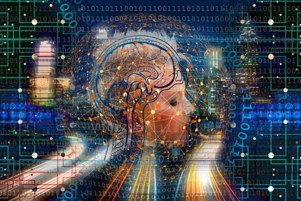 脳が透けて見えている女性のイメージ画像
