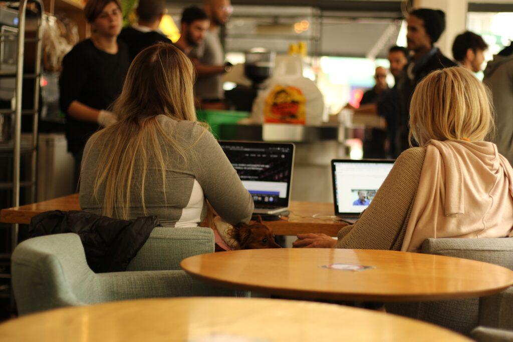 ボディセラピストの通信講座をパソコンで受けている女性二人の画像
